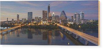 A Panorama Of The Austin Skyline Over Lady Bird Lake Wood Print by Rob Greebon