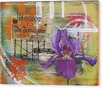 An Iris For The Tennessean Wood Print by Andrea LaHue aka Random Act