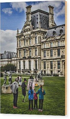 An Oil Painter In A Park In Paris Wood Print by Sven Brogren