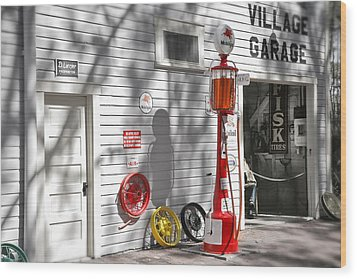 An Old Village Gas Station Wood Print by Mal Bray