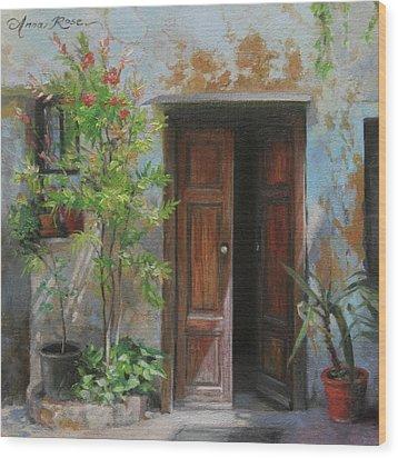 An Open Door Milan Italy Wood Print by Anna Rose Bain