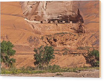 Ancient Anasazi Pueblo Canyon Dechelly Wood Print by Bob and Nadine Johnston