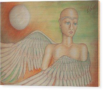 Angel Boy Wood Print by Claudia Cox