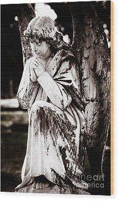 Angel In Prayer Wood Print by Sonja Quintero