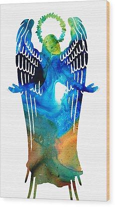 Angel Of Light - Spiritual Art Painting Wood Print by Sharon Cummings