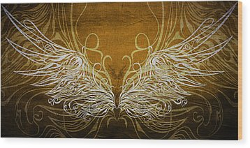 Angel Wings Gold Wood Print by Angelina Vick