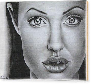 Angelina Jolie Wood Print by Atinderpal Singh