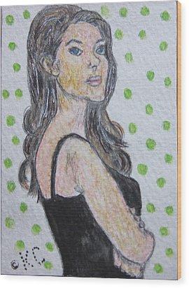 Angelina Jolie Wood Print by Kathy Marrs Chandler