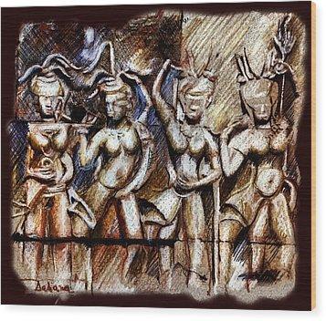 Angkor Wat - Apsara Wood Print by Daliana Pacuraru
