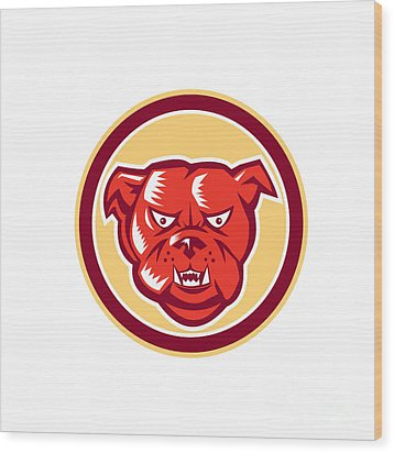 Angry Bulldog Mongrel Head Circle Retro Wood Print by Aloysius Patrimonio