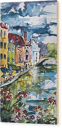 Annecy Canal And Swans France Watercolor Wood Print by Ginette Callaway