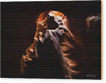 Antelope Canyon Light Wood Print by Bill Cantey