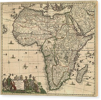 Antique Africa Map Wood Print by Gary Grayson