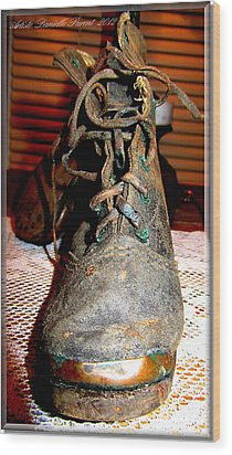 Antique Boots Wood Print by Danielle  Parent