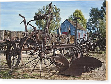 Antique Farm Equipment End Of Row Wood Print by Lee Craig