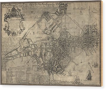 Antique Map Of Boston By William Price - 1769 Wood Print by Blue Monocle