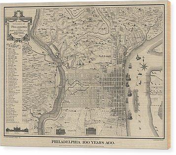 Antique Map Of Philadelphia By P. C. Varte - 1875 Wood Print by Blue Monocle