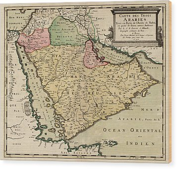 Antique Map Of Saudi Arabia And The Arabian Peninsula By Nicolas Sanson - 1654 Wood Print by Blue Monocle