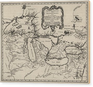 Antique Map Of The Great Lakes By Jacques Nicolas Bellin - 1755 Wood Print by Blue Monocle
