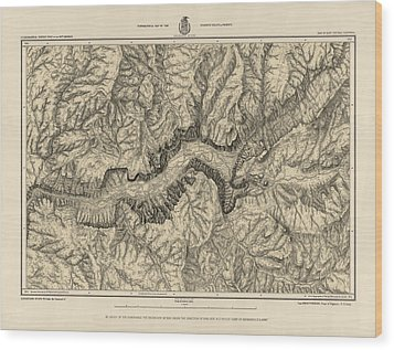 Antique Map Of Yosemite National Park By George M. Wheeler - Circa 1884 Wood Print by Blue Monocle