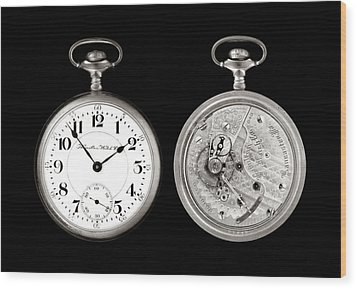 Antique Pocketwatch Wood Print by Jim Hughes