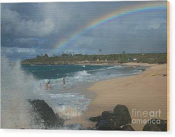 Anuenue - Aloha Mai E Hookipa Beach Maui Hawaii Wood Print by Sharon Mau