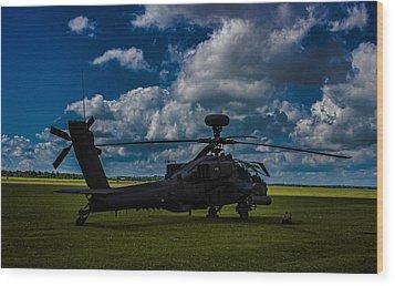 Apache Gun Ship Wood Print by Martin Newman