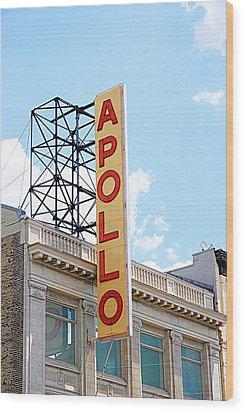 Apollo Theater Sign Wood Print by Valentino Visentini