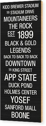 Appalachian State College Town Wall Art Wood Print by Replay Photos