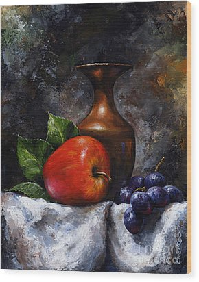 Apple And Grapes Wood Print by Emerico Imre Toth