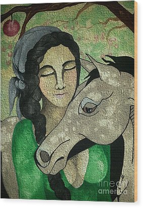 Apples And Horses Wood Print by Amy Sorrell