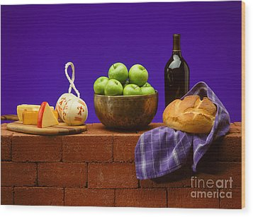 Apples Bread And Cheese Wood Print by Craig Lovell