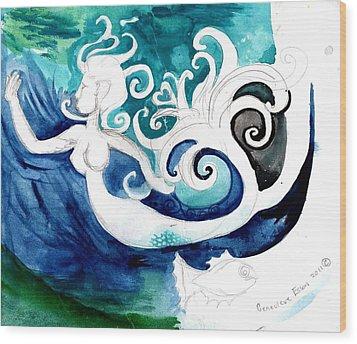 Aqua Mermaid Wood Print by Genevieve Esson