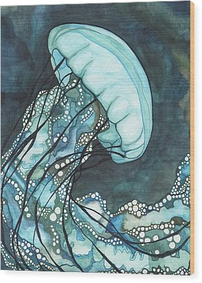 Aqua Sea Nettle Wood Print by Tamara Phillips