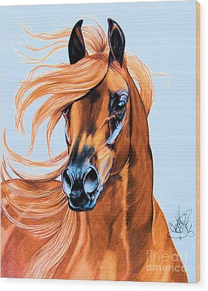 Arabian Portrait In Color Pencil Wood Print by Cheryl Poland