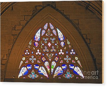 Arched Stained Glass Window Wood Print by Cindy Lee Longhini