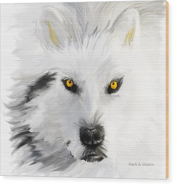 Arctic Wolf With Yellow Eyes Wood Print by Angela A Stanton