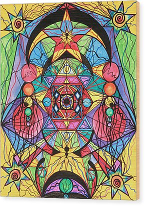 Arcturian Ascension Grid Wood Print by Teal Eye  Print Store