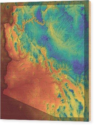 Arizona Map Art Wood Print by Paul Hein