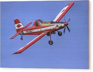 Arkansas Razorbacks Air Tractor Wood Print by Jason Politte