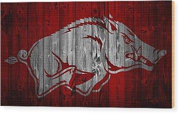 Arkansas Razorbacks Barn Door Wood Print by Dan Sproul