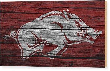 Arkansas Razorbacks On Wood Wood Print by Dan Sproul