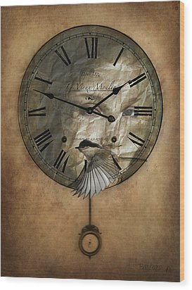 Around The Clock-time Is Flying Wood Print by Barbara Orenya