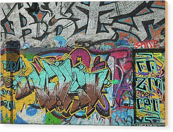 Artistic Graffiti On The U2 Wall Wood Print by Panoramic Images