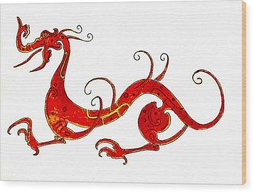 Asian Dragon Wood Print by Michael Vigliotti