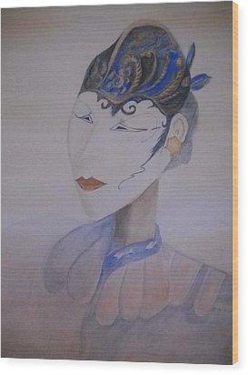 Asian Mask Wood Print by Marian Hebert