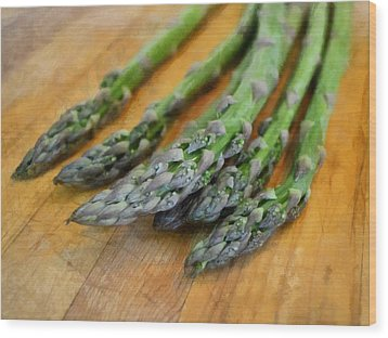 Asparagus Wood Print by Michelle Calkins