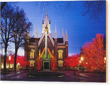 Assembly Hall Slc Temple Wood Print by La Rae  Roberts