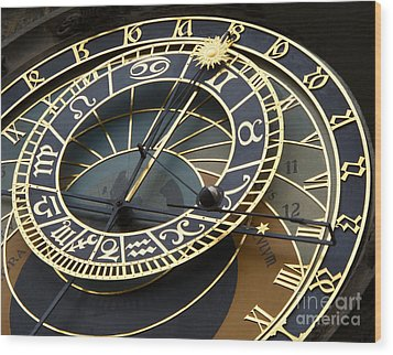 Astronomical Clock Wood Print by Ann Horn