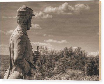 At The Ready - 84th Ny Vol Infantry 14th Brooklyn Regiment Red Legged Devils Railroad Cut Gettysburg Wood Print by Michael Mazaika